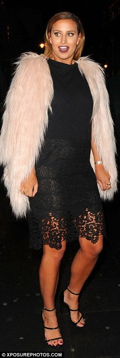 The stunner flashed her underwear in the lace dress as she posed at the second party of the night Ferne Mccann, Floor Length Dresses, Silk Dress, Boobs, Two By Two, Underwear, Night, Coat, Party