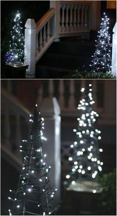 Decorating with lights for Christmas is a tradition. How you use those lights however, is entirely up to you. I've found a great collection of 30 unique ways to use string and fairy lights when Christmas Lights Etc, Diy Christmas Tree, Outdoor Christmas Decorations, Holiday Lights, Light Decorations, Holiday Decor, Christmas Stuff, Diy Lampe, Christmas Light Installation
