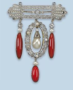 A BELLE EPOQUE CORAL, PEARL AND DIAMOND BROOCH   Composed of a diamond and seedpearl bar brooch supporting a similarly-set oval panel and three coral and pearl drops, circa 1920, composite