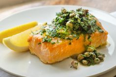 Giadzy by Giada De Laurentiis  |  A place where food, family and fun come together. Baked Salmon Recipes, Shrimp Recipes, Fish Recipes, Argula Recipes, Quick Healthy Lunch, Salsa Verde Recipe, Giada Recipes, Dinner Recipes, Fish Dinner