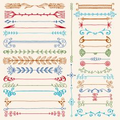 Hand drawn dividers design elements color set. Vector illustration. vector art illustration
