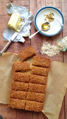 Ginger and coconut flapjacks (oat bars) - recipe