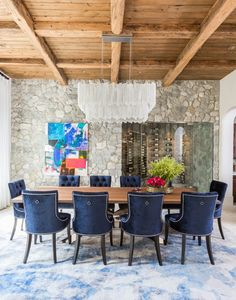 Marie Flanigan Interiors - 2017 Design Resolutions - Stone Wall & Wine Cellar - Blue Velvet Dining Chairs - Wood Cieling - Ron Dier Selenite Chandelier