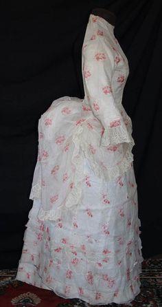 Pretty 1870s Printed Cotton Polonaise Seaside Bustle Dress | eBay
