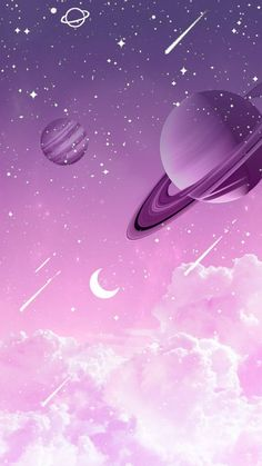 Purple Wallpaper Universe by Gocase purple purple planets planets clouds clouds shooting star Saturn Neptune Jupiter earth trip travel galaxy gocase lovegocase # stars Cartoon Wallpaper, Space Phone Wallpaper, Wallpaper Pastel, Planets Wallpaper, Aesthetic Pastel Wallpaper, Kawaii Wallpaper, Cute Wallpaper Backgrounds, Pretty Wallpapers, Wallpaper Iphone Cute