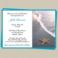 Printable BEACH BRIDAL Shower INVITATION by GlitterAndShineShop