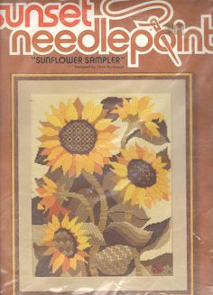 Sunset Needlepoint Sunflower Sampler Needlepoint Kit by Cuppatique, $18.00