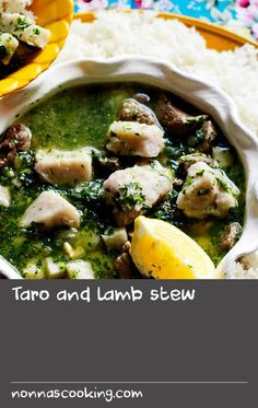 Taro and lamb stew Taro Recipes, Fried Garlic, Lamb Stew, Ground Coriander, Root Vegetables, Middle Eastern Recipes, Yum Yum Chicken, Chicken Soup, Soups And Stews