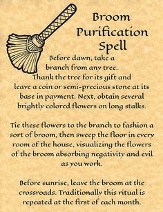 Broom Purification Spell, Book of Shadows Page, BOS Pages, Rare Witchcraft Spell