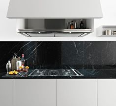 Zampieri - #Y kitchen in pearl grey lacquer with Marquina marble top.
