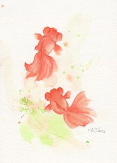 Fish fish print art giclee watercolor watercolor by ChiFungW, $15.00