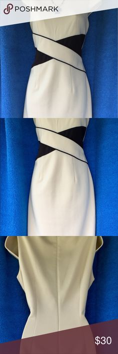 "STUDIO ONE NY Dress 👗 EUC- 🎉HOST PICK🎉 ❤️NEW YORK STUDIO ONE Stunning Dress. Cream with Black Center Crisscrossing Figure Flattering Detail. Poly/Spandex. V-Neck Front, Hidden Zipper Back, Lined, Quality Made. Pit to Pit = 17"" Across, W = 14.5"" Across - HAS STRETCH, L=36"".  Beautiful- EXCELLENT USED CONDITION 🎈Smoke-Free Fashion Loving Posher - Top Seller & Fast Shipper with Many Happy Customers🌹😊 Studio One New York Dresses"