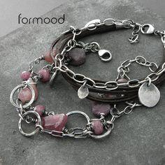 turmalin, szafir, rubin i rzemień - zestaw dwóch bransoletek Biżuteria Bransolety formood