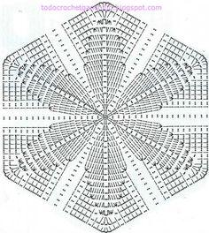 diagrama de hexagono granny para realizar conjunto dos piezas tunica y falda crochet