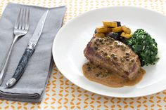 Pan-Seared Steaks  with Green Peppercorn Sauce & Roasted Fingerling Potatoes