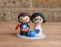 Captain America groom and bride wedding cake topper by Genefy Playground