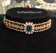 Jewelry OFF! 22 Carat gold simple choker studded with cz stones and emerald by Premraj Shantilal jewellers. light weight choker designs for kids Gold Chocker Necklace, Choker Necklaces, Chokers, Heart Necklaces, Emerald Bracelet, Pearl Choker, Earrings, Gold Jewelry Simple, Dainty Jewelry