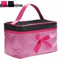 Lowest Price Women's Bag Square Bow Stripe Cosmetic Bag  Cosmetic Bag Striped Bowknot Women Makeup bag Travel Portable Handbag