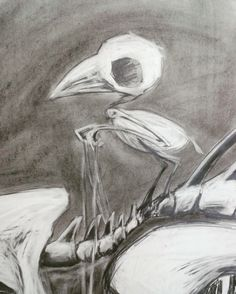 Charcoal, pencil, bones, bird, riding.