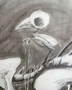 Charcoal, pencil, bones, bird, riding.