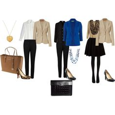 """""""3 days business trip"""" by lizmau on Polyvore I would substitute flats or loafers, the tote would zip closed at top, purse would have shoulder strap -  sometimes you need to run to make a plane connection."""