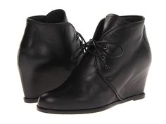 NIB Stuart Weitzman KALAHARI SZ 8 Black Napa Leather Wedge Lace Up Ankle Boots #StuartWeitzman #AnkleBoots #Casual
