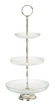 Cake stand clear glass w. Collections Ect, 3 Tier Cake Stand, Dahl, Discount Designer, Clear Glass, Dinnerware, Wedding Gifts, Branding Design, Home And Garden