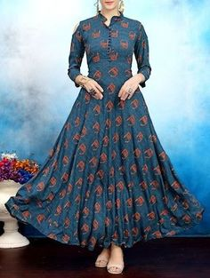 Buy Elevate Blue Geometric Print Cold Shoulder Maxi Kurti online in India at best price. Indian Gowns Dresses, Indian Outfits, Kurta Designs, Blouse Designs, Ethnic Fashion, Indian Fashion, Classy Fashion, Casual Dresses, Fashion Dresses