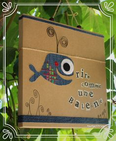 Need to make those with english puns! Jean Crafts, Denim Crafts, Craft Activities For Kids, Diy Crafts For Kids, Fabric Crafts, Paper Crafts, Karten Diy, Recycle Jeans, Summer Gifts