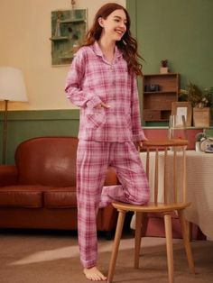 ((AffiliateLink)) Style:	Casual Color:	Pink Pattern Type:	Plaid Neckline:	Notched Type:	Long Sets Details:	Button, Pocket Sleeve Length:	Long Sleeve Composition:	35% Cotton, 65% Polyester Material:	Cotton Blends Fabric:	Fabric has no stretch Sheer:	No Belt:	No Lining:	No Pink Patterns, Pj Sets, Stay Warm, Pajama Set, Jumpsuit, Plaid, Buttons, Long Sleeve, Casual