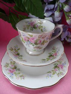 Royal Albert British c1950 Bone China Moss Rose Tea Set Trio Cup Saucer Plate