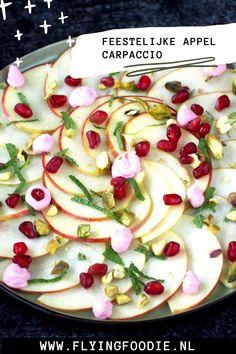 Feestelijke appel carpaccio | Flying Foodie Foodies, Vegan, Cooking, Pistachio, Mascarpone, Kitchen, Vegans, Cuisine