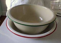 2 Vintage Red and White & Green and White Enamelware Dish Basin 1940s