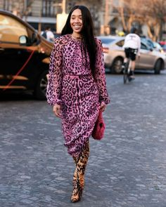 Best Street Style Dresses: Animal Print Dress over Animal Print Boots at Paris Fashion Week