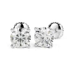 2 Carat Stud Earrings, Screwbacks, 14K White #diamondearrings #14kwhitegold #roundcutdiamonds #4prongsearrings #bridalearrings #weddingearrings #fineearrings #2caratsdiamonds #genuinediamonds #engagementearrings #diamondstuds #bridesmaidearrings #pushbackearrings