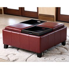 Abbyson Living Vincent Red Leather Square Ottoman with 4 Trays - Overstock™ Shopping - Great Deals on Abbyson Living Ottomans