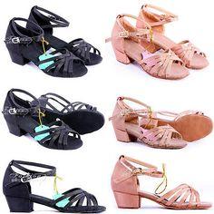 Super Women Children Kids Ballroom Latin Girl Salsa Dance Shoes Heeled Dancewear