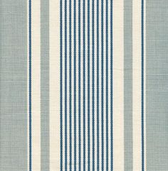 French Ticking Linen Fabric Duck egg and blue ticking stripe printed on off white linen