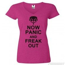 'Now Panic and Freak Out' T-Shirt, Keep Calm, Panic, V-Neck, Tee