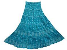 "Peasant Skirt Turquoise Blue Block Printed Long Skirt Gypsy Bohemian Skirts 38"" Mogul Interior,http://www.amazon.com/dp/B00BNQQF2W/ref=cm_sw_r_pi_dp_PxQmrb07MJW63F0E"