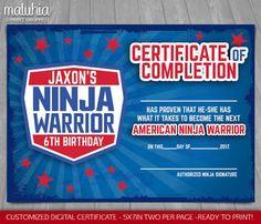 american ninja warrior birthday paper products