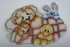 Placa em mdf pintada à mão, motivo ursos com seus amiguinhos coelhinho e patinho. Lindo para decorar o quarto do bebê. Faço nas cores de sua preferência. R$ 85,00