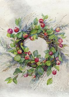 Image wreath of twigs with green leaves and red small apples and berries. Woven decorative branches arborvitae , which gives the product the character of Christmas - buy this stock illustration on Shutterstock & find other images. Watercolor Christmas Cards, Christmas Drawing, Christmas Paintings, Watercolor Cards, Watercolor Paintings, Watercolors, Free Watercolor Flowers, Painted Christmas Cards, Illustration Noel