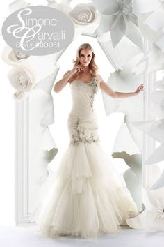 Simone Carvalli fall 2011 wedding gown style #90051 #oneshoulder #mermaid #tulle