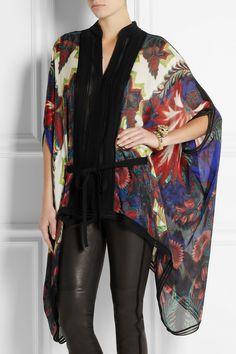 Roberto Cavalli|Draped printed washed-silk top|NET-A-PORTER.COM