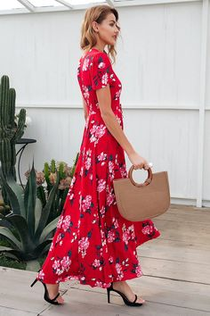 Lovely in RED. Material: Viscose Silhouette: Fit and Flare Decoration: Button Dresses Length: Ankle-Length Sleeve Style: Regular Waistline: Empire Neckline: V-Neck *PLEASE ALLOW UP TO 3-4 WEEKS FOR DELIVERY.