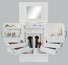 Wooden Jewelry Display Box Makeup Case with Mirror and Drawers for Cosmetic Storage, View makeup case, PRO-YEARN Product Details from Zhongshan Pro-Yearn Crafts Product Co., Ltd. on Alibaba.com