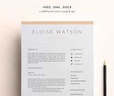 Resume Templates 3 Page Resume Template | INDD + DOCX by BlackDotResumes on @creativemarket Ready for Print Resume template examples creative design and great covers, perfect in modern and stylish corporate business. Modern, simple, clean, minimal and feminine layout inspiration to grab some ideas.
