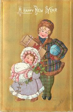 New-Year-Victorian-Girls-Packages-Plaid-Coat-White-Fur-Muff-Gold-Stripe-Germany
