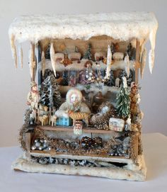 Wonderful old German Christmas doll's house stand from Erzgebirge! www.rarities4you.com...lovely market piece!